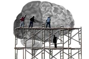 Men On Scaffolding Working on a Brain